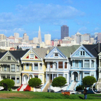 Painted Ladies am Alamo Square in San Francisco Wallpaper