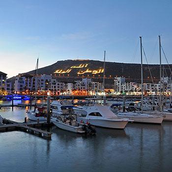 Marina Agadir - Hafen bei Sonnenuntergang