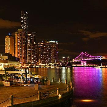 Brisbane Story Bridge with colorful lighting