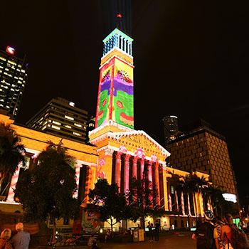 City Hall Brisbane with Christmas lights