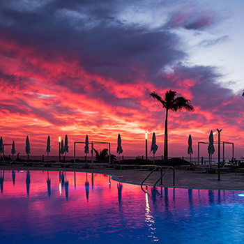 Sonnenaufgang am Pool Wallpaper