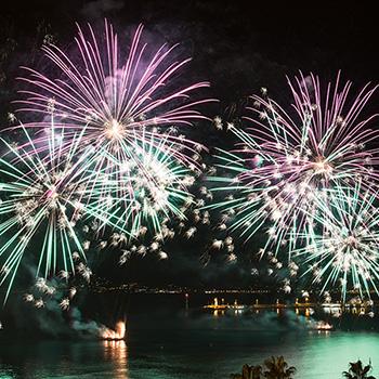 Feuerwerk Cannes Silvester grün-rot