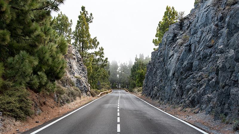 Bergstrasse im Nebel Teneriffa Spanien