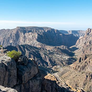 Täler und Berge bei Sayq im Oman