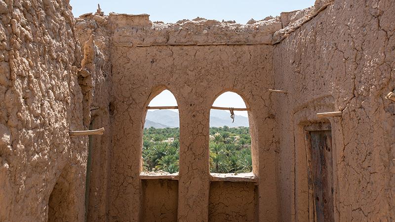 Ruine im Oman mit schöner Aussicht