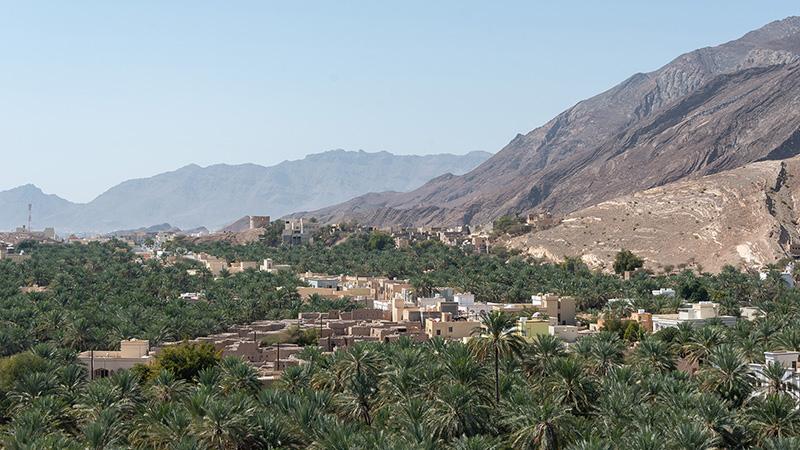 Berge und grüne Täler im Oman