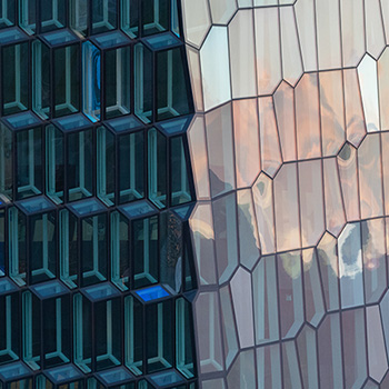 Glass facade of the Harpa Concert Hall