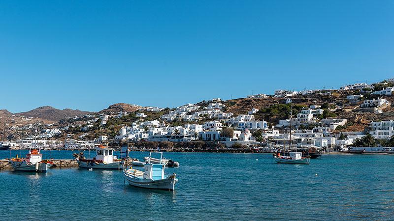 Boote im alten Hafen von Mykonos