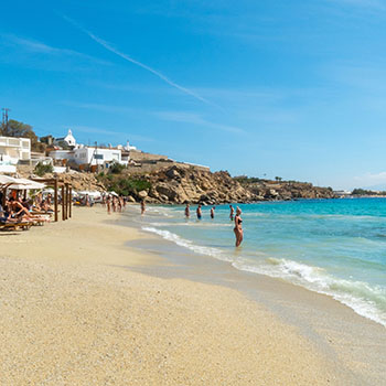 Highlights der Insel Mykonos und Strand