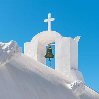 Dach einer Kapelle in Oia