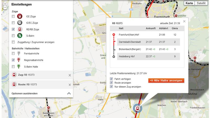 Steckenverlauf Bahn Reiseverbindung auf Google Map