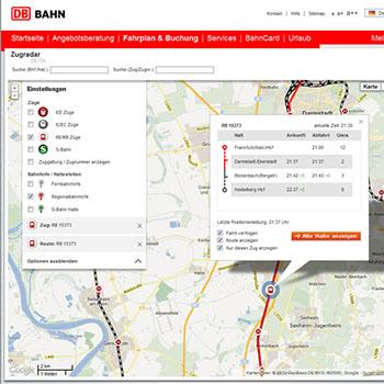 Bahn Streckenverlauf für Reiseroute auf Google Maps Karte