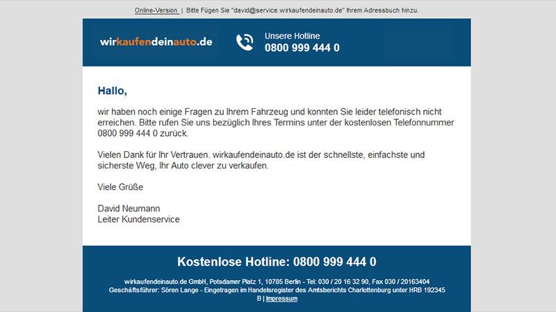 Die zweite Email von wirkaufendeinauto.de gibt Rätsel auf