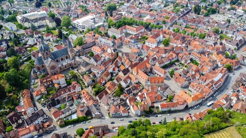Luftaufnahme der Altstadt von Heppenheim