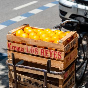 Kiste frischer Orangen in Buenos Aires