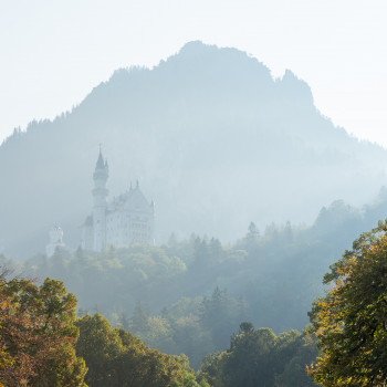 Schloss Neuschwanstein im Frühnebel