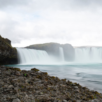 Godafoss Wasserfall vom Ufer