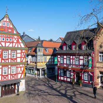 Fachwerkhäuser am Löwenbrunnen in Idstein
