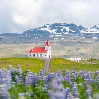 Schöne Kirche mit rotem Dach in Island