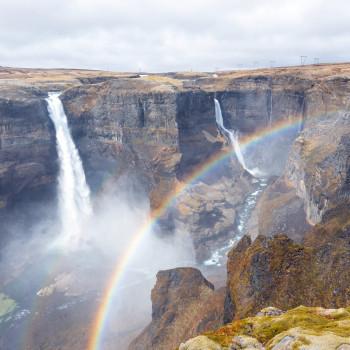 Haifoss Wasserfall mit Regenbogen