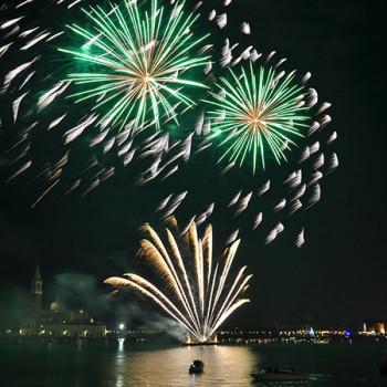 Venedig - Silvesterfeuerwerk in grün
