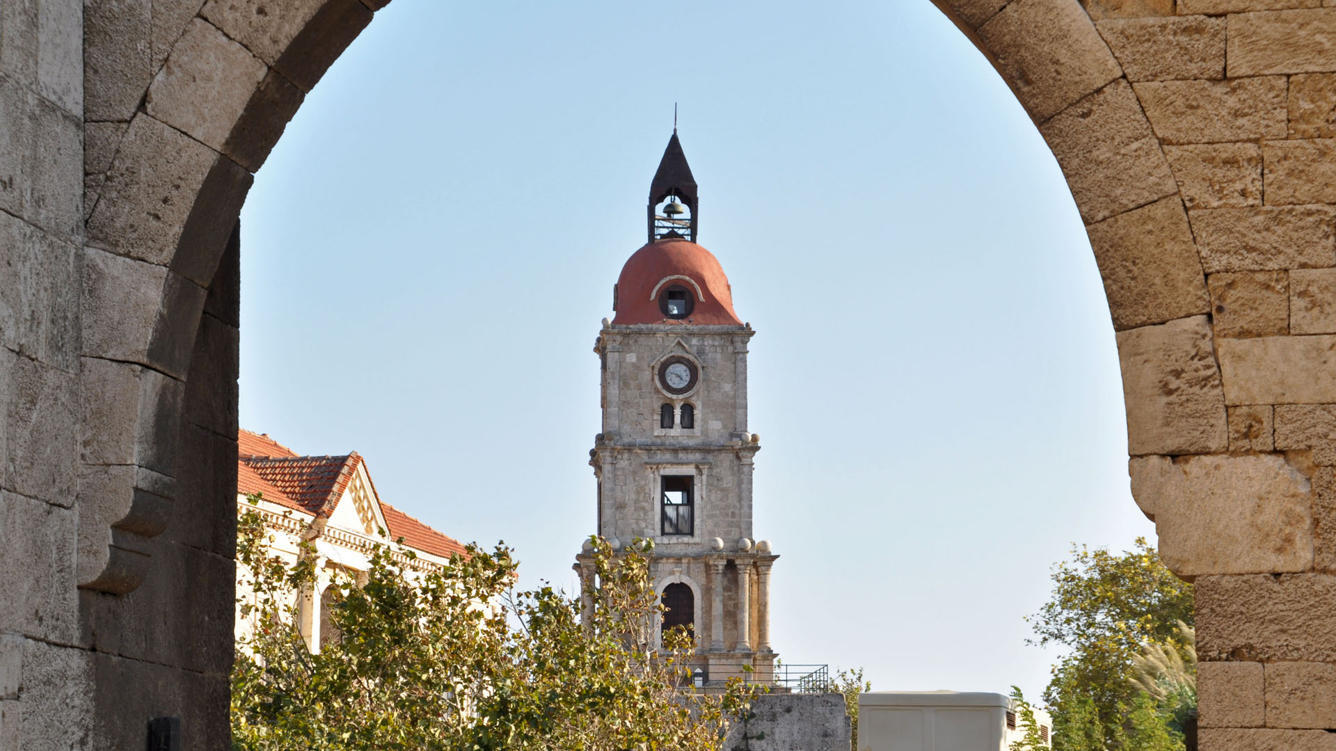Clock Tower on Rhodos in Greece