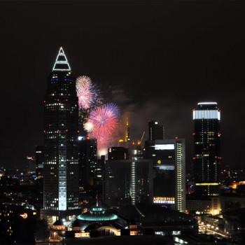 Frankfurt Skyline with Fireworks