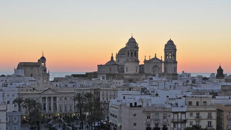 Skyline of Cadiz at sunset