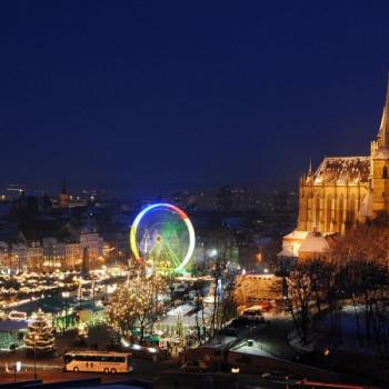 Weihnachtsmarkt Erfurt mit Dom und Riesenrad
