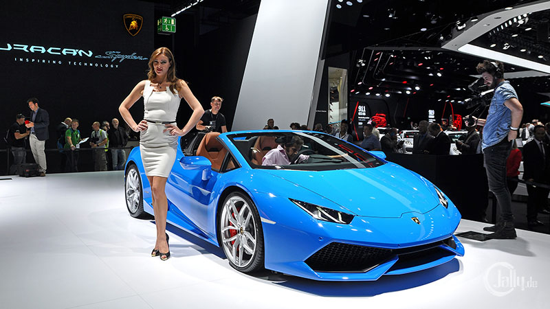 Blue Lamborghini at the IAA in Frankfurt