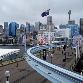 Monorail Haltestelle am Darling Harbour in Sydney