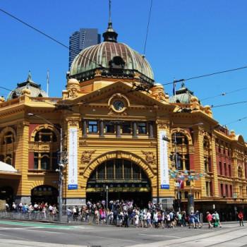 Gelber Bahnhof in Melbourne
